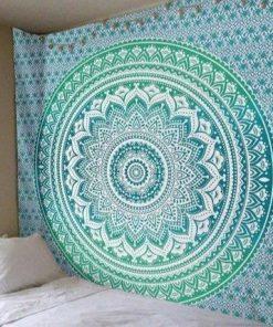 Blau Grün Wandbehang
